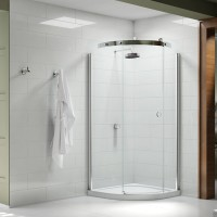 Merlyn Series 10, 1 Door Quad 900mm LH Incl. Tray - Chrome/Smoked Black Glass (MS103221BL)