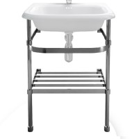Clearwater Small roll top basin stand - 55cm - Stainless Steel (B7ES)
