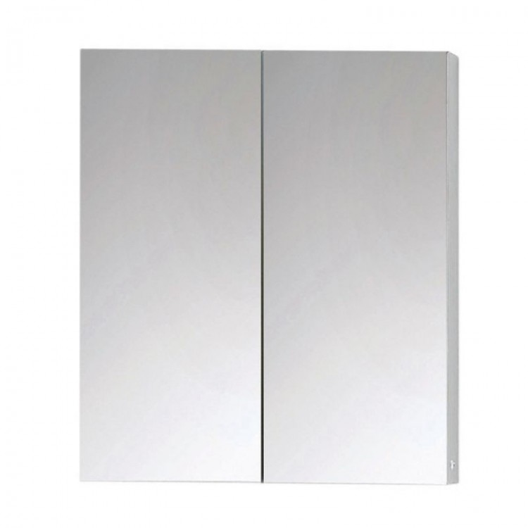 Neon Double Door Mirrored Aluminium Bathroom Cabinet (600mm x 703mm) (13377)