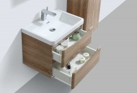 Erin 600mm Wall Mounted Vanity Unit and Basin Light Oak with White Glass Basin (22537)
