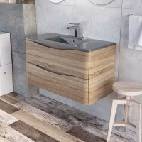 Erin 900mm Wall Mounted Vanity Unit and Basin Light Oak with Grey Glass Basin (24443)