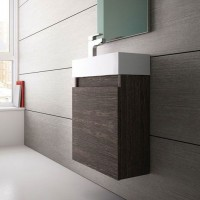 Compact Wall Hung Cloakroom Vanity Unit Dark Oak (15445)