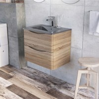 Erin 600mm Wall Mounted Vanity Unit and Basin Light Oak with Grey Glass Basin (24441)