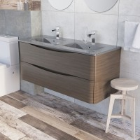 Erin 1200mm Double Basin Vanity Unit Grey Elm with Grey Glass Basin (24439)