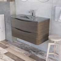 Erin 900mm Wall Mounted Vanity Unit and Basin Grey Elm with Grey Glass Basin (24437)
