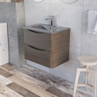 Erin 600mm Wall Mounted Vanity Unit and Basin Grey Elm with Grey Glass Basin (24435)
