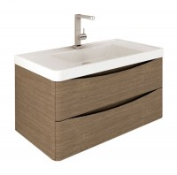 Erin 900mm Wall Mounted Vanity Unit and Basin Grey Elm with White Glass Basin (22544)
