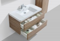 Erin 900mm Wall Mounted Vanity Unit and Basin Light Oak with White Glass Basin (22543)