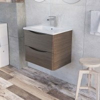 Erin 600mm Wall Mounted Vanity Unit and Basin Grey Elm with White Glass Basin (22535)