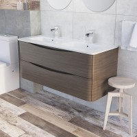 Erin 1200mm Double Basin Vanity Unit Grey Elm with White Glass Basin (22553)