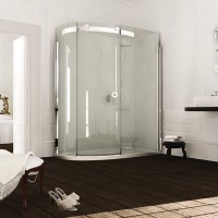 Merlyn Series 10, 1 Door Offset Quad 1000 x 800mm LH Incl. Tray - Chrome/Clear Glass (MS103233CL)