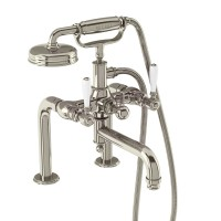 Arcade Bath Shower Mixer - Deck Mounted with Handset - Nickel & White lever handles (ARC18-NKL-ARC65-NKL)