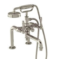 Arcade Bath Shower Mixer - Deck Mounted with Handset - Nickel & Nickel lever handles (ARC18-NKL-ARC67-NKL)