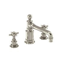 Arcade Three Hole Basin Mixer Taps - Deck Mounted without Pop Up Waste - Nickel (ARC15)