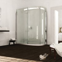 Merlyn Series 10, 1 Door Offset Quad 1200 x 900mm RH Incl. Tray - Chrome/Smoked Black Glass (MS103241BR)
