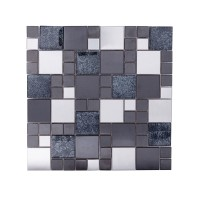 Twilight Black Foil Poppy mosaic 300 x 300mm (22982)